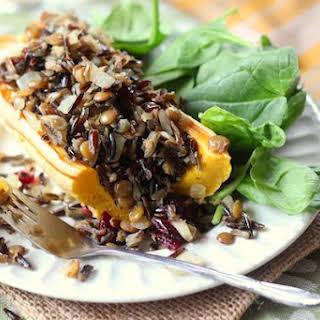 Wild Rice, Lentil & Cranberry Stuffed Delicata Squash.