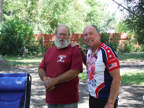 Photo: Day 19 Dubois to Riverton 79 miles 1410' climbing: Tom with Merlin the Owl Creek RV manager. At the age of 18 Merlin was a drill instructor. He lives at the RV park, has a Harley with over 100,000 miles and pulls a tear drop trailer behind the Harley, that Merlin designed and built himself.