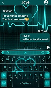 Live Neon Heart Keyboard Theme - náhled