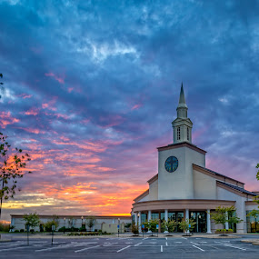 Sunset Church by Mike Svach - Buildings & Architecture Places of Worship ( building, sky, church, sunset, nightscape )