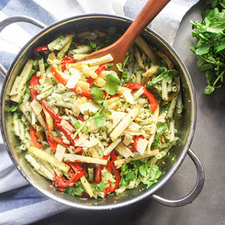 Watercress Pesto Pasta with Roasted Parsnips and Peppers