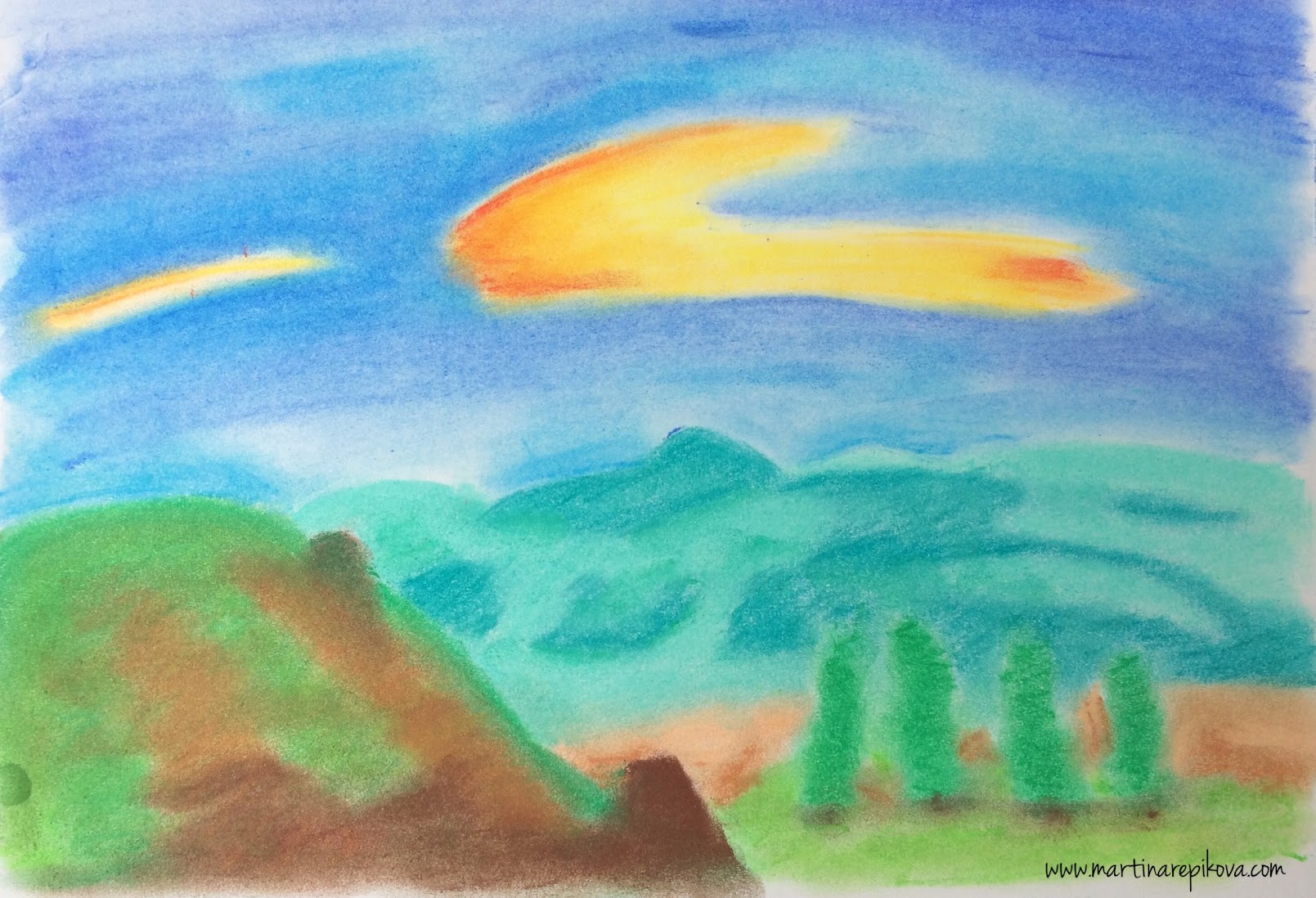 HIlls, Slovakia (a pastel drawing)