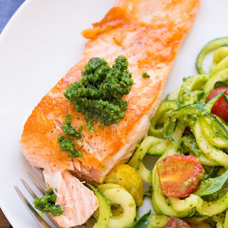 Kale Pesto Zucchini Noodles and Salmon