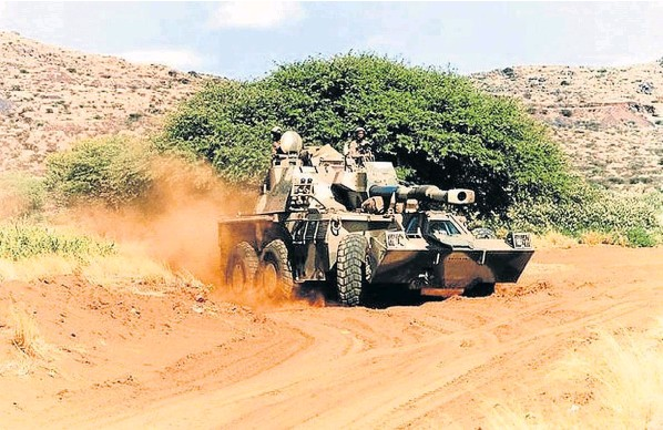 A Denel G-6 howitzer armoured vehicle