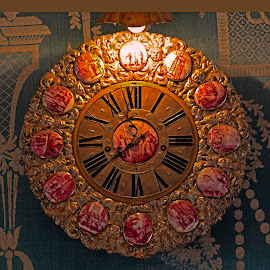 Clock - Warwick Castle by Dee Haun - Artistic Objects Technology Objects ( red, gold, england, castle, warwick castle, inlays, 180927f5002ce2, artistic object, clock,  )