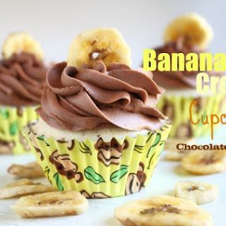 Banana Cream Cupcakes with Chocolate Frosting