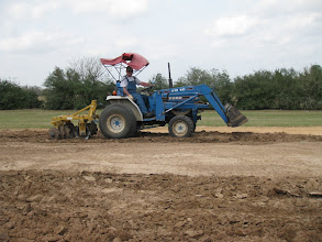 Photo: Ed Rains plowing with disc plow