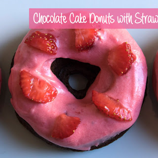 Chocolate Cake Donuts with Strawberry Buttercream