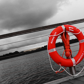 Life saver...!! by Arunkumar Boyidapu - Novices Only Landscapes ( water, red, bouy, landscape, float, black )
