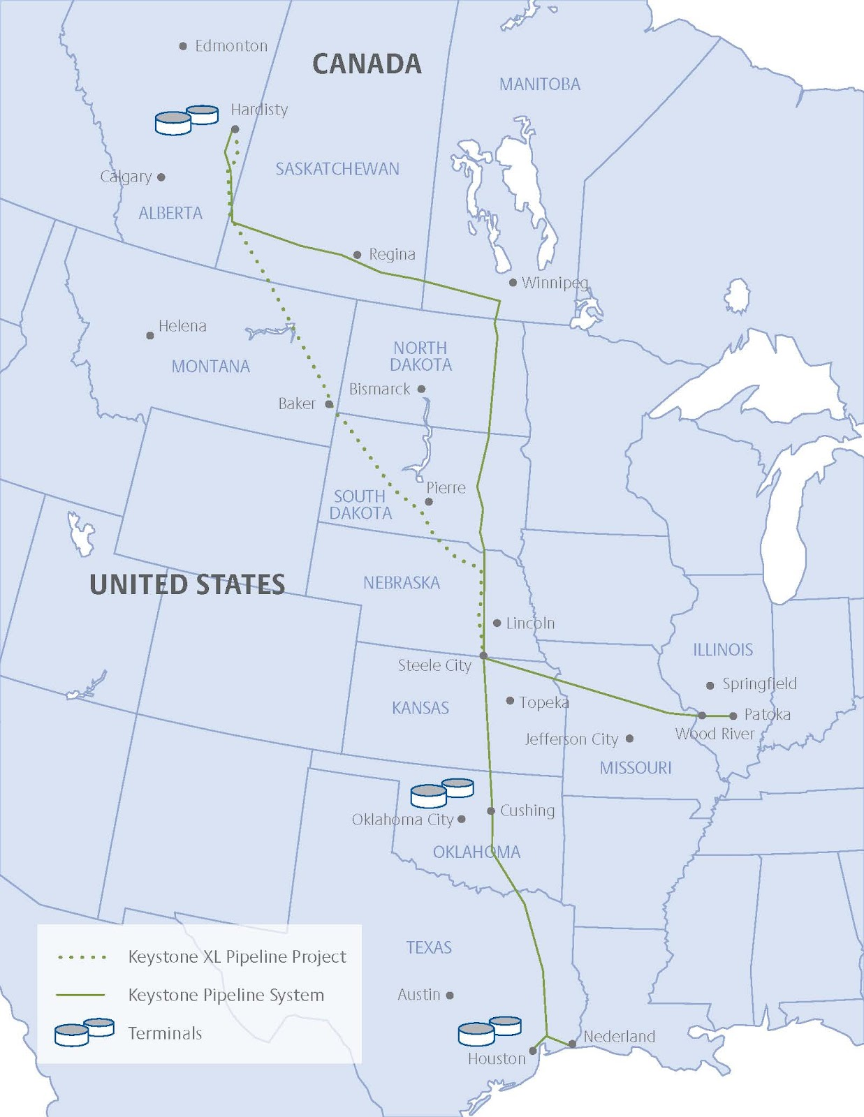Keystone XL pipeline route map