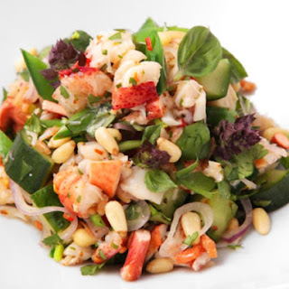 Thai-Style Lobster and Herb Salad with Snap Peas and Salted Cucumber.