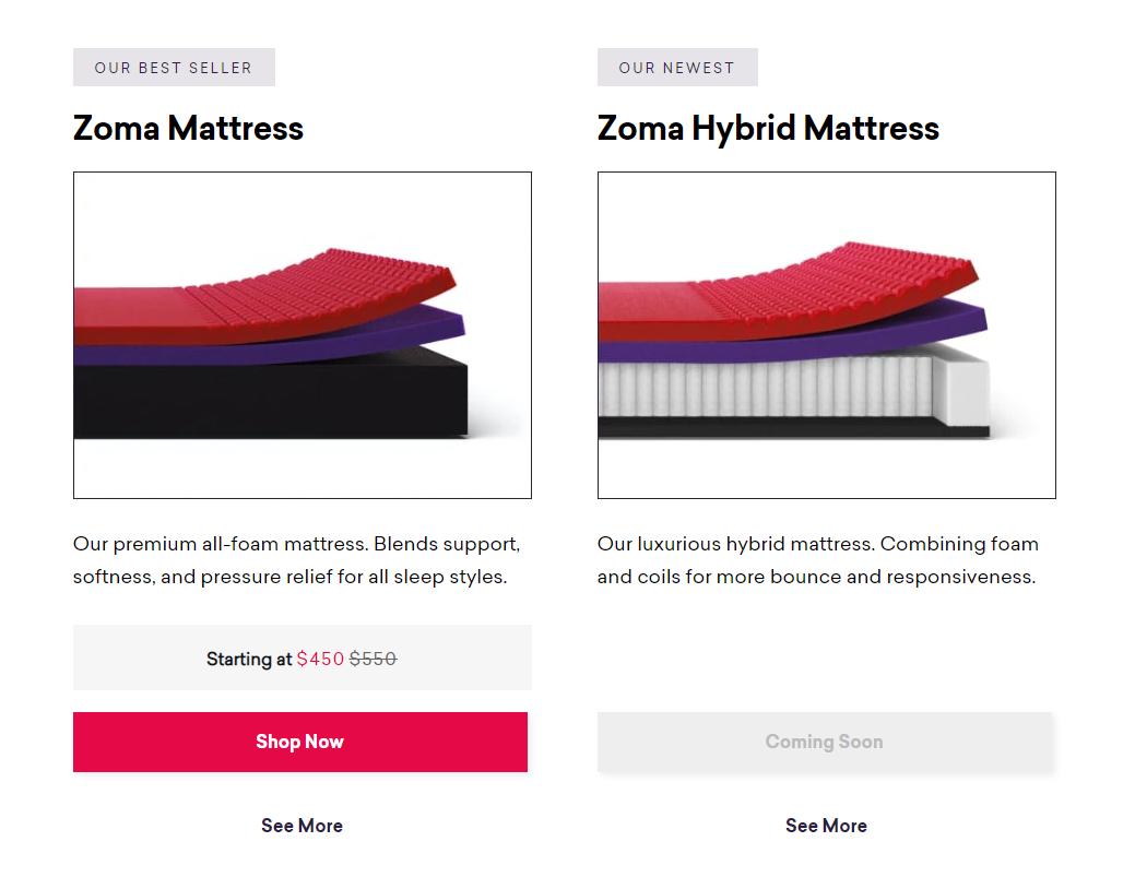 Zoma sleep repurposed product catalog