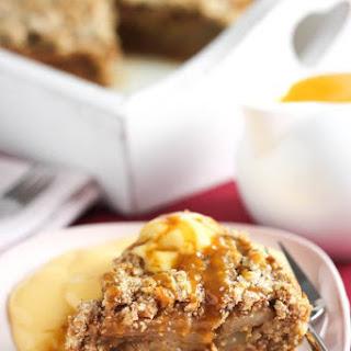 Super Easy Caramel Pear Crumble Cake
