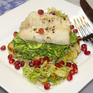 Pan Roasted Cod with Kale Walnut Zucchini Pasta, Roasted Cauliflower Steaks & Warm Shaved Brussel Sprout Salad.