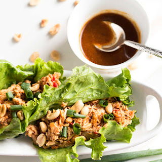 Peanut Asian Chicken Lettuce Wraps.