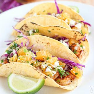 Chipotle Shrimp Tacos with Sumo Citrus Salsa.