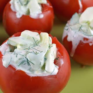 Tzadziki Stuffed Tomatoes.