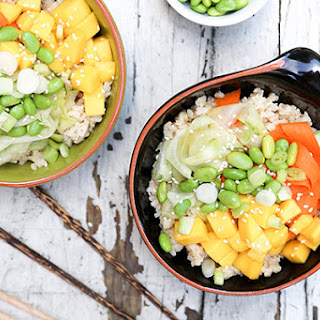Mango Sushi Bowls with Quick-Pickled Carrots and Cucumbers
