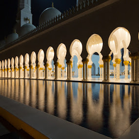 Sheikh Zayed Mosque 11 by Bim Bom - Buildings & Architecture Places of Worship ( mosque muslim abu dhabi uae united arab emirates water reflection columns gold night, night, lights,  )