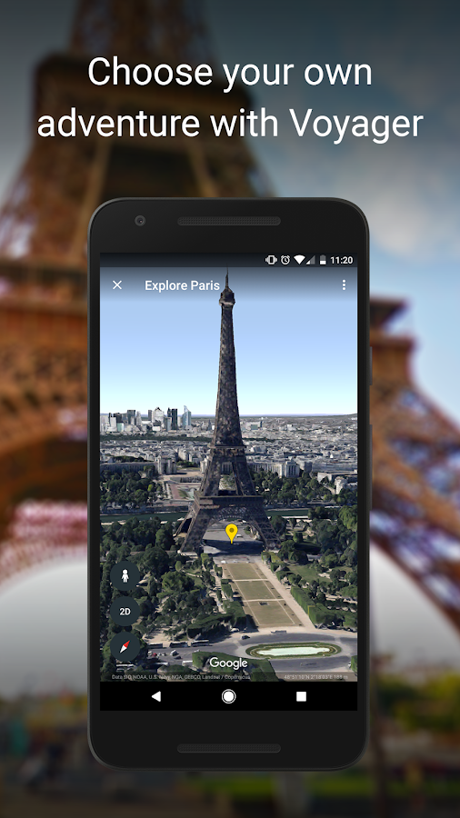 Screenshots of Google Earth for iPhone