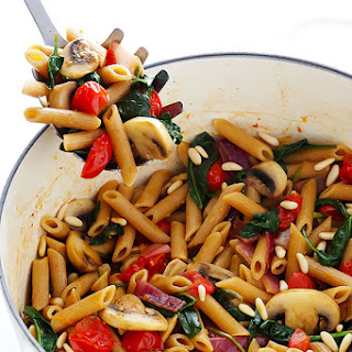 Pasta with Mushrooms, Tomatoes & Spinach.
