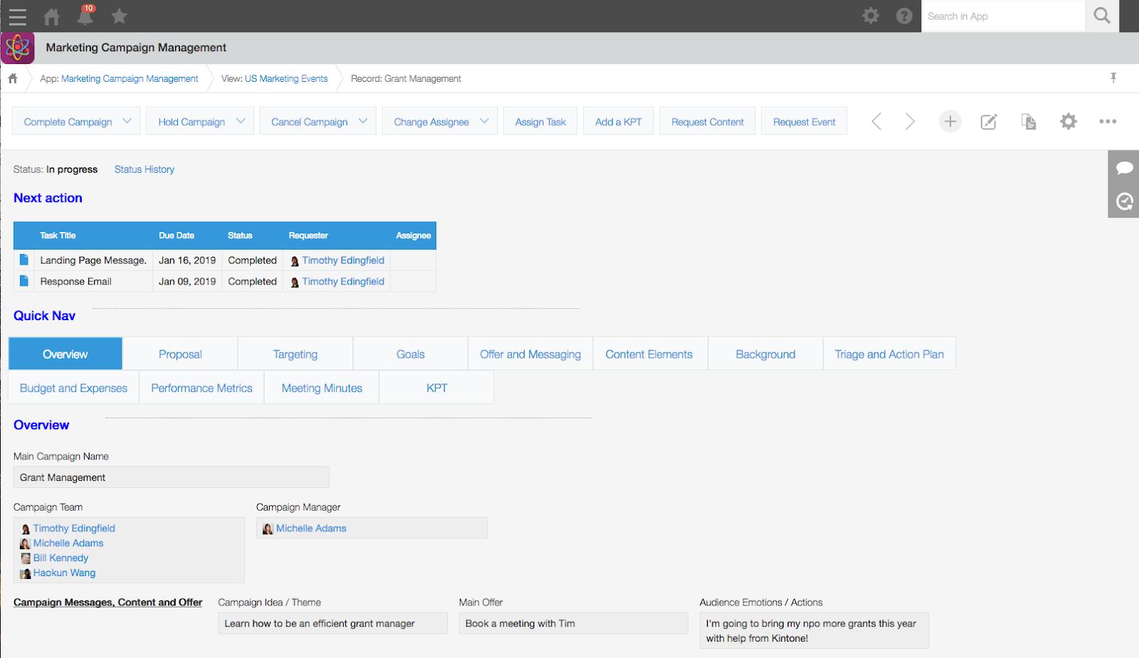 Kintone  Campaign Management App - Grant Management Campaign Record (Overview Tab)