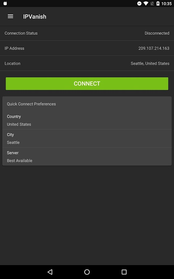 IPVanish VPN- screenshot