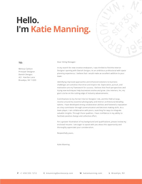Katie Manning - Cover Letter Template