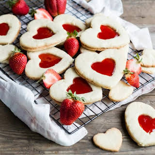 Heart Shaped Butter Cookies with Jam.