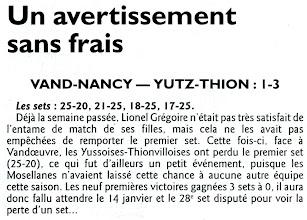 Photo: 14-01-2012 R1F Yutz-Thionville perd son premier set, mais gagne à Vandoeuvre