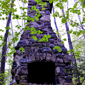 FIRE PLACE by Marc-Andre Grenier - Buildings & Architecture Decaying & Abandoned ( forest, rocks, ruins, abandoned, fireplace )