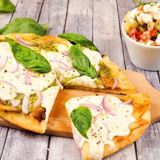 Grilled Pesto Flatbreads with balsamic-feta tomato salad