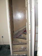 Photo: October 2003 - Month 2: Servants' starcase from kitchen to 2nd Floor - steep and narrow. Current location of refrigerators.