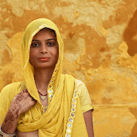 Woman in yellow di