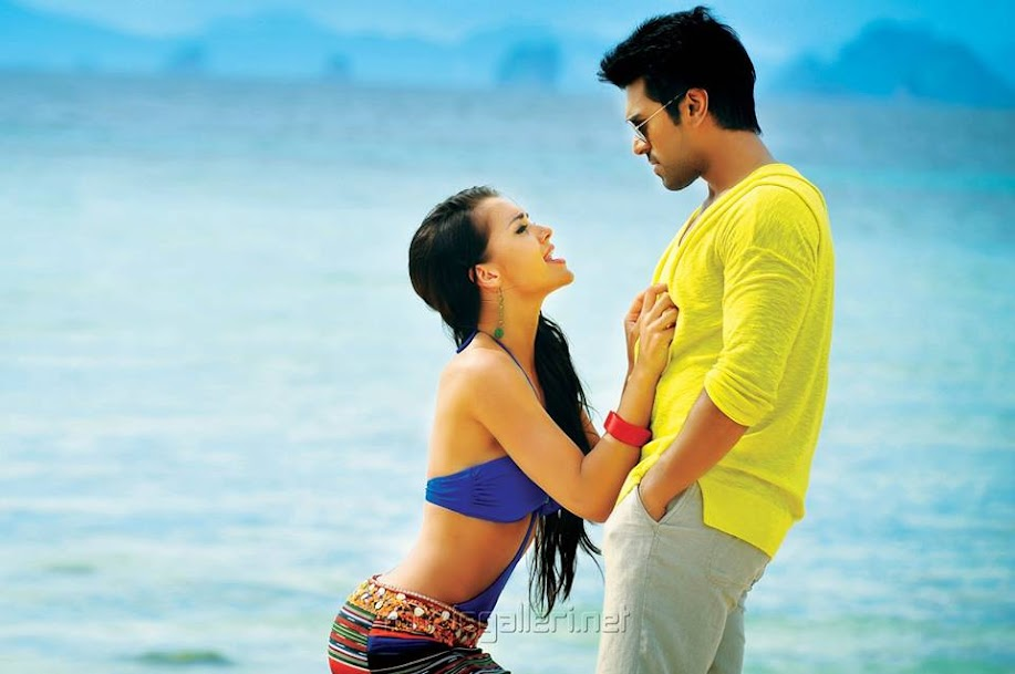 Amy Jackon with Ramcharan, Amy Jackson hot in Telugu film