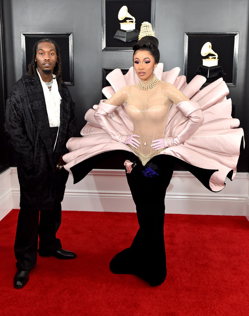 Offset and Cardi B on the red carpet at the 2019 Grammy Awards.