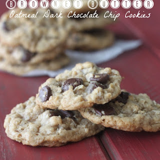 Browned Butter Oatmeal Dark Chocolate Chip Cookies
