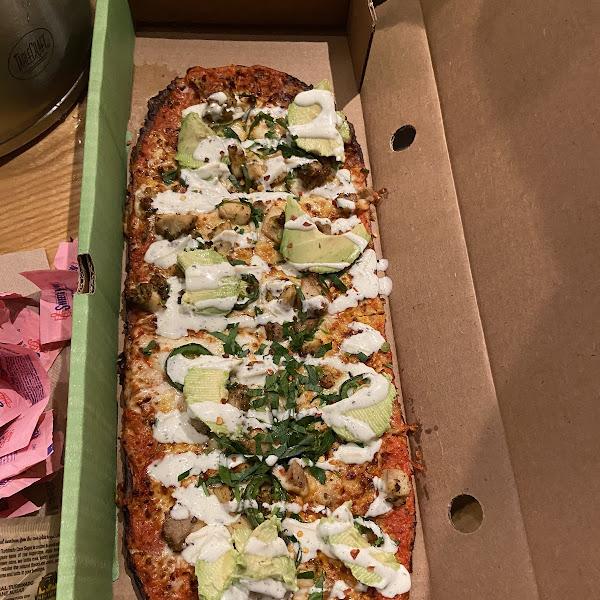 Cauliflower crust Devil's wing pizza! Soooo Yummy!
