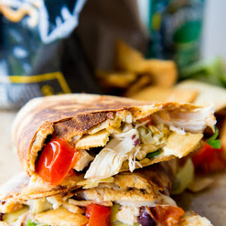 Mediterranean Quesadilla Stuffed with Crushed Pita Chips
