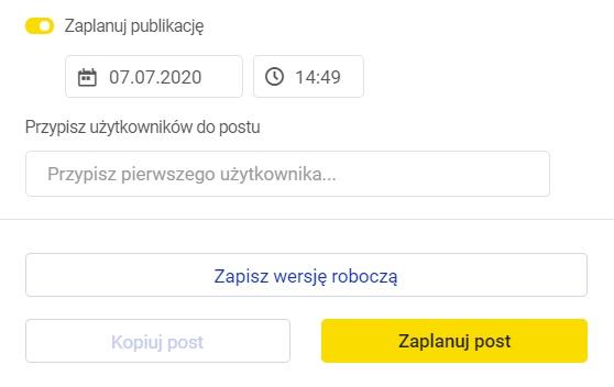 Funkcja planowania postów w Publikatorze od NapoleonCat