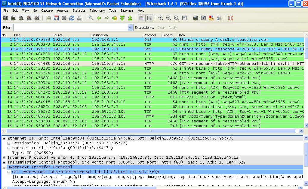 Wireshark Lab: HTTP v1