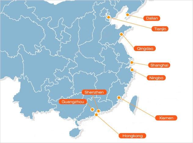 Основные порты доставки в Китае