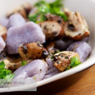 Purple Potato Gnocchi with Chestnut Mushrooms