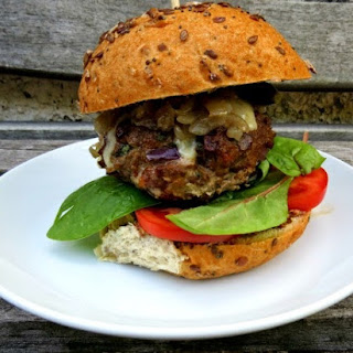Beef Burgers with Gruyere and Caramelised Onions.