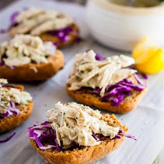 Crock Pot Chicken Salad Sandwich Sliders {Gluten Free, Mayo Free}.