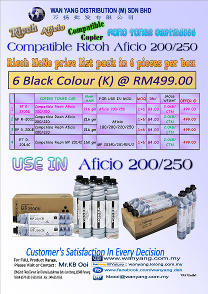 RICOH AFICIO 200/250 C Compatible Copier Toner Cartridge