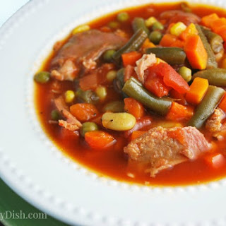 Slow Cooker Southern Ham Vegetable Soup.