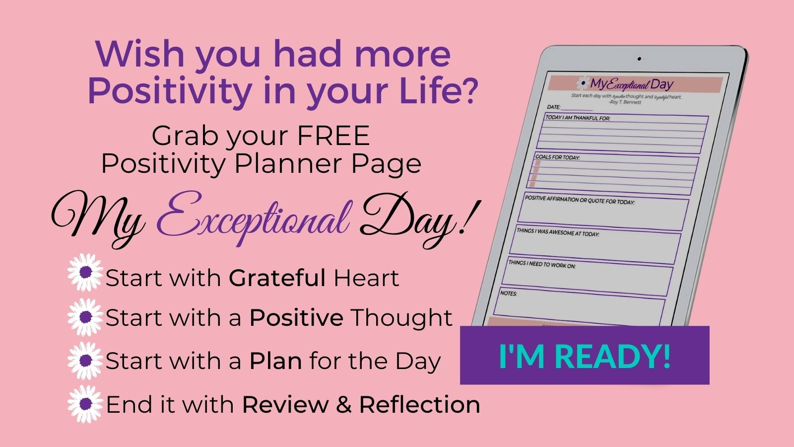 Grab your My Exceptional Day planner page