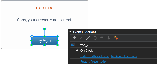 add actions to the Try Again button