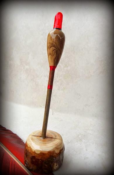 Photo: Spanish Olive Wood Body with Birch Stem a few wraps of red silk & Yew Mount